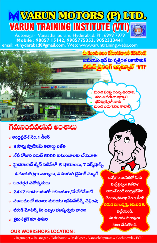 Varun Training Institute (VTI) , Vanasthalipuram, Beside BSNL Office, Hyderabad,, AndhraPradesh -   , 500070,, India